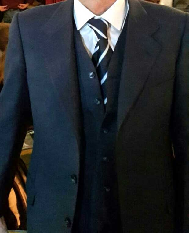giacca blu con panciotto - vestiti completi in sartoria