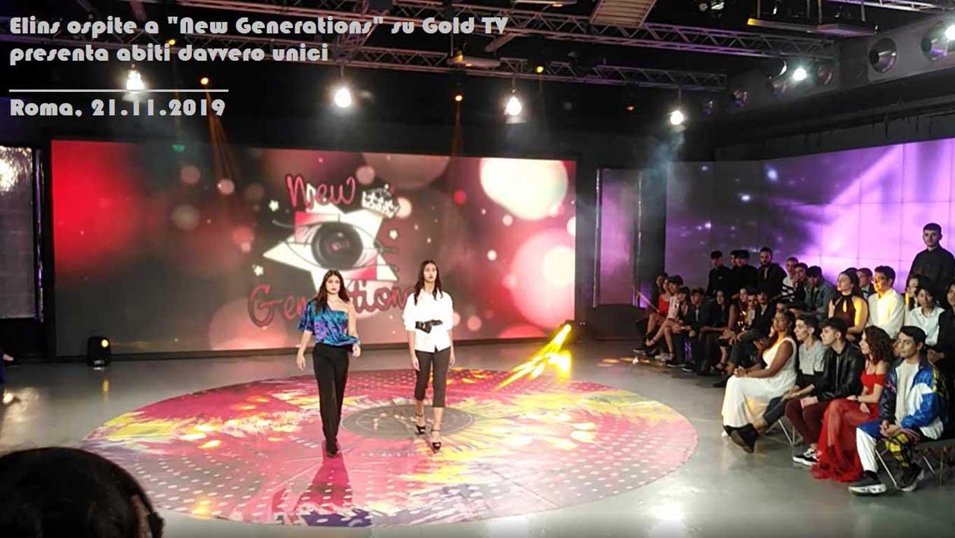 Elins moda alla trasmissione televisiva New Generations di TV Gold. Presentazione abiti uomo donna. Stile, design della stilista Eleonora Giamberduca