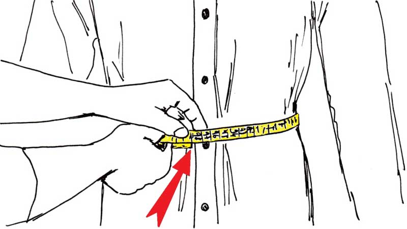misurare la vita della camicia - sartoria Elins moda