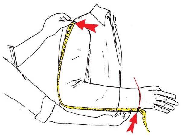 misurare le maniche della camicia - sartoria Elins moda