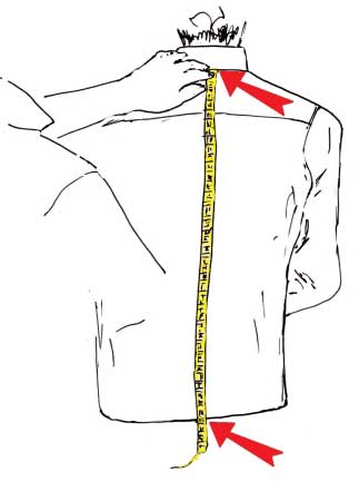 misurare lunghezza della camicia - sartoria Elins moda