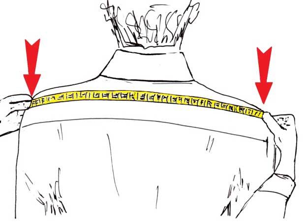 misurare le spalle per la camicia - sartoria Elins moda