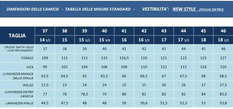 tabella misure camicie new style - sartoria Elins