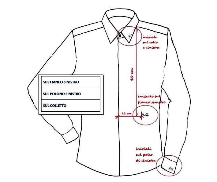 camicie iniziali ricamate